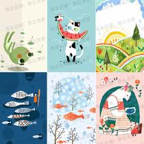 38款北欧卡通可爱动物装饰插画手机壳抱枕墙贴纸图案矢量设计素材