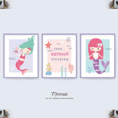 唯美可爱卡通美人鱼装饰插画芯儿童墙贴纸图案填充背景矢量ai素材