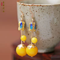 National style sterling silver beeswax earrings female Chinese style amber earrings chicken oil yellow old wax ear jewelry cloisonne retro