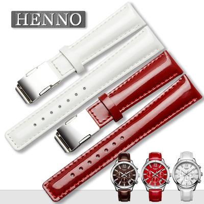 卡西欧真皮表带女士 SHN-5020L-4A 5010 牛皮手表链 白/红色18mm哪个品牌好