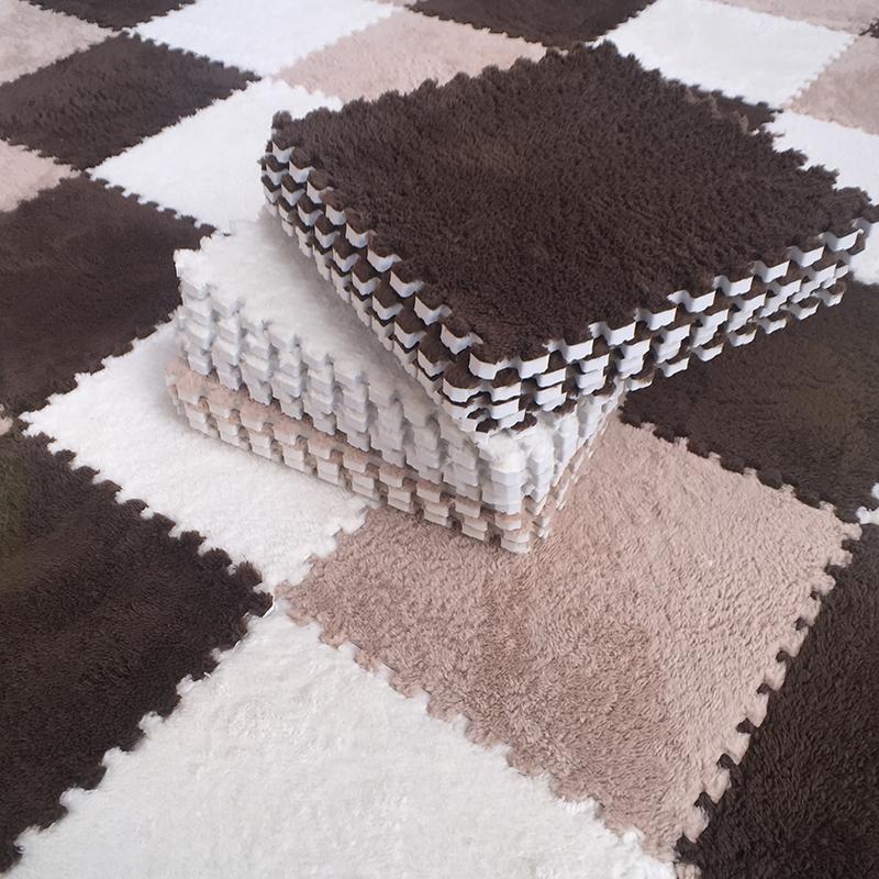 绒面拼接地垫毛绒地毯