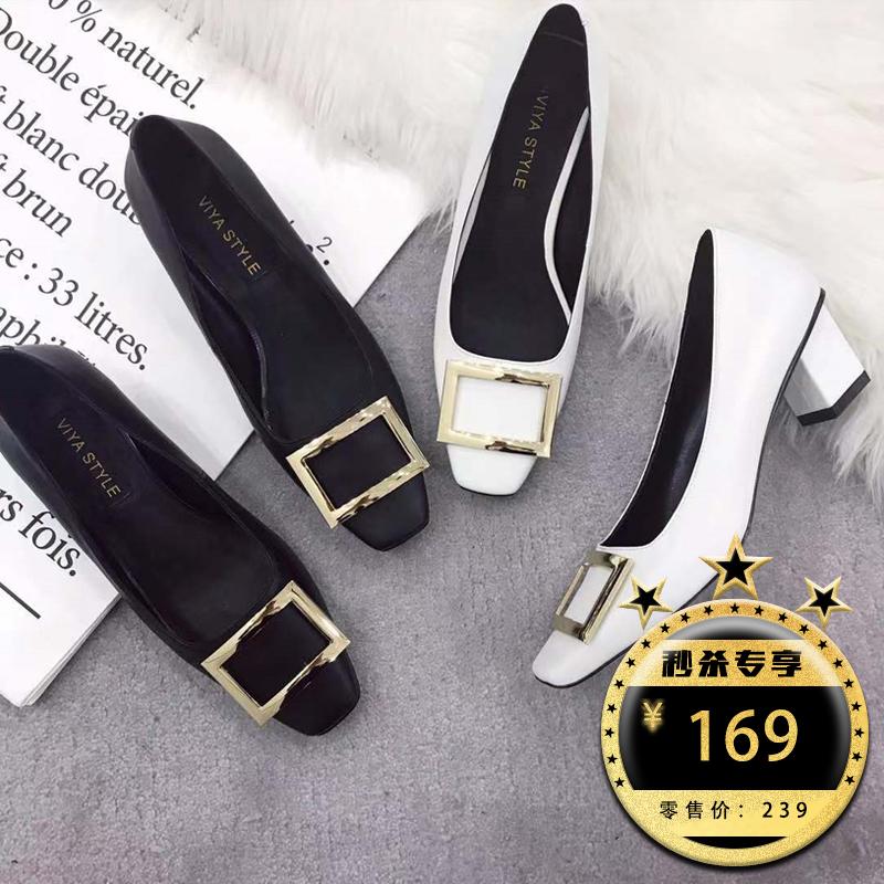 薇娅viya定制春季新款浅口方头中跟单鞋黑色方扣通勤粗跟OL风女鞋