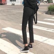 新款 高腰显瘦百搭阔腿宽松黑色九分cec裤 直筒牛仔裤 女2019春装图片