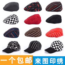 Chef work cap male Hotel Kitchen restaurant beret breathable cap waiter forward hat Female custom