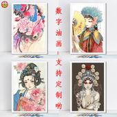 diy数字油彩画传统文化艺术手绘填充色人物油画 古典戏曲京剧花旦图片