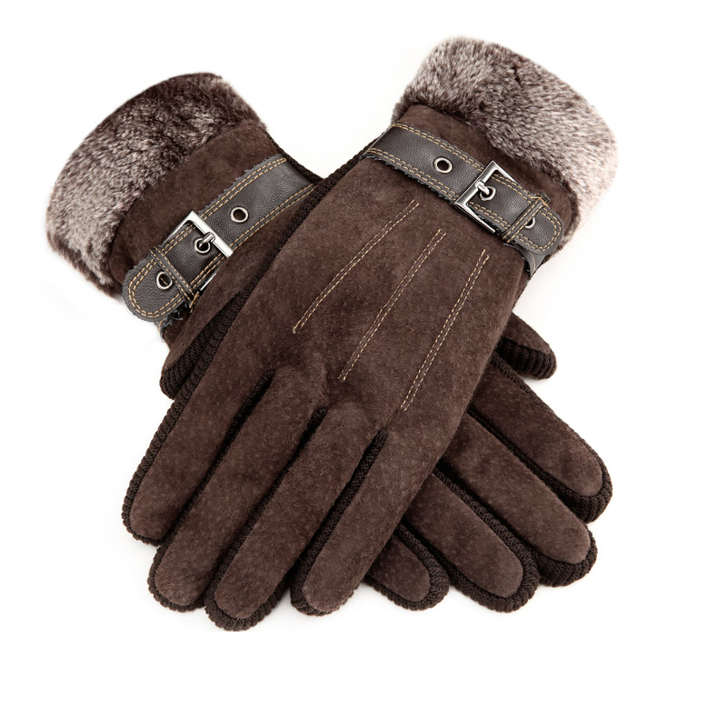 帅冠 秋冬季分指加厚加绒骑行开车户外防寒防风保暖男女皮手套