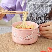 日式泡面碗带盖陶瓷学生宿舍微波炉可加热方便面碗便当水果碗带把