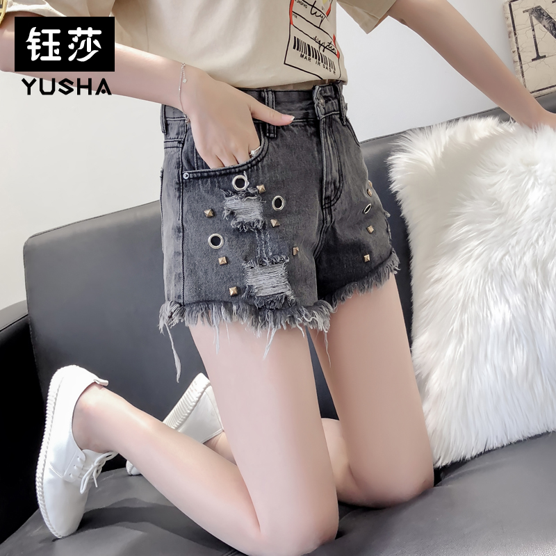 高腰铆钉牛仔短裤