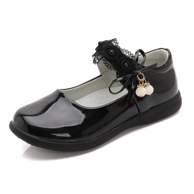 女童皮鞋黑色公主鞋春秋季2019新款儿童白单鞋小学生软底演出秋鞋