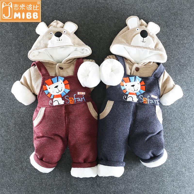 宝宝冬季套装婴儿背带裤两件套新生儿0-1-3岁婴儿加绒加厚棉衣