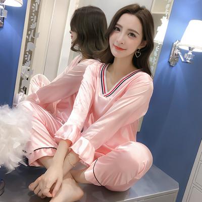 睡衣女春秋长袖冰丝韩版清新学生仿真丝绸夏季薄款两件套装家居服