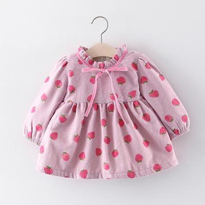 超洋气女小童连衣裙加绒小女孩秋冬装0一1-3岁儿童女宝宝公主裙子