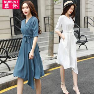 夏装2018新款CCDD冷淡风裙子女装坊温柔裙超仙收腰朵以简约连衣裙