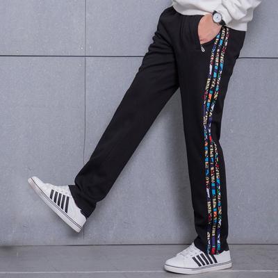 休闲运动裤男秋装加绒加厚直筒卫裤青少年初中高中学生秋季长裤子