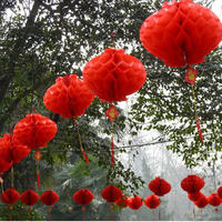 New Year's Day New Year Red Lantern Wedding Lantern Lantern Spring Festival Hanging Opening Scene Arrangement Folding Paper Lantern