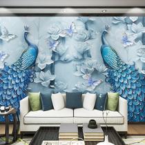 房间立体壁画电视背景墙沙发壁纸客厅卧室欧式5d8d凹凸墙纸孔雀