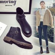 英伦风平底小短靴2018秋季新款马丁靴女粗跟靴子冬季棉鞋加绒女鞋