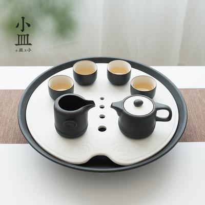 小皿茶盘家用简约现代陶瓷圆形储水排水式功夫茶具托盘大号泡茶台