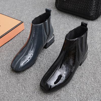 欧美马丁靴英伦风2018春秋冬季新款百搭短靴子平底粗跟瘦瘦靴女鞋