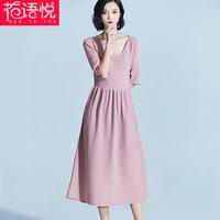 长款低领连衣针织裙