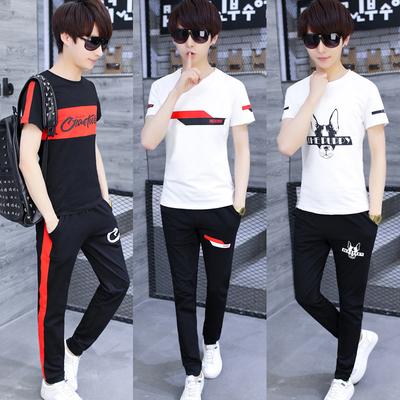 夏季青少年短袖t恤运动休闲套装男士韩版潮流初中学生两件套夏装