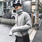 @威廉威 18秋冬 男士高领毛衣套头宽松纯色潮流休闲针织衫