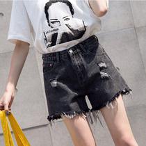 加大码牛仔短裤女夏装新款2019宽松遮肚减龄微胖妹妹高腰阔腿裤潮