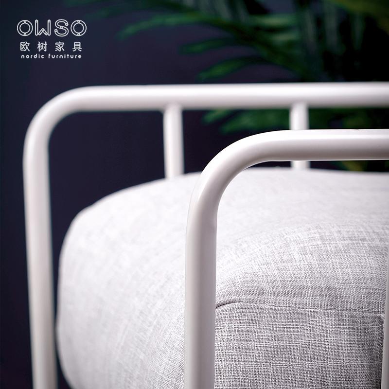 欧树 北欧小户型铁艺沙发客厅单双人组合整装布艺沙发椅简约现代