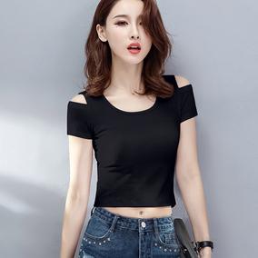 2019夏季新款短袖t恤女短款高腰露脐圆领露肩紧身外穿漏肚脐上衣