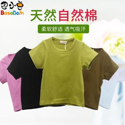 男童女童纯棉短袖T恤夏季中大童装小童宝宝儿童黑白色半袖打底衫