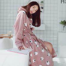 棉籽壳法兰绒睡袍女秋冬季可爱珊瑚绒浴袍加厚冬天女士中长款浴衣