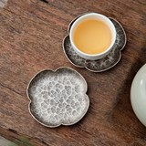 Handmade hammer cup holder handmade silver coaster sterling silver four-leaf traditional silver tea coaster tea set S990