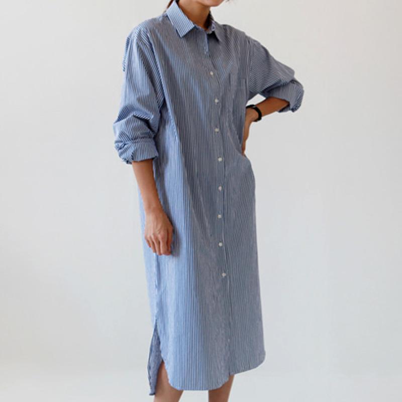 韩版超长衬衫
