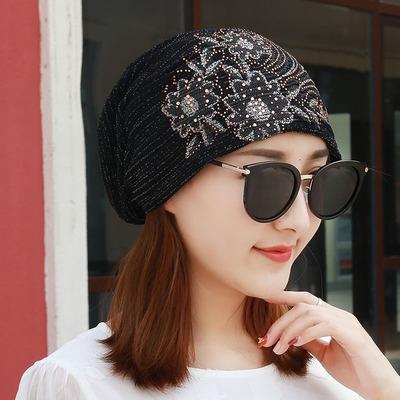 帽子女韩版透气花朵蕾丝女帽夏季薄款套头包头光头帽子孕妇空调帽
