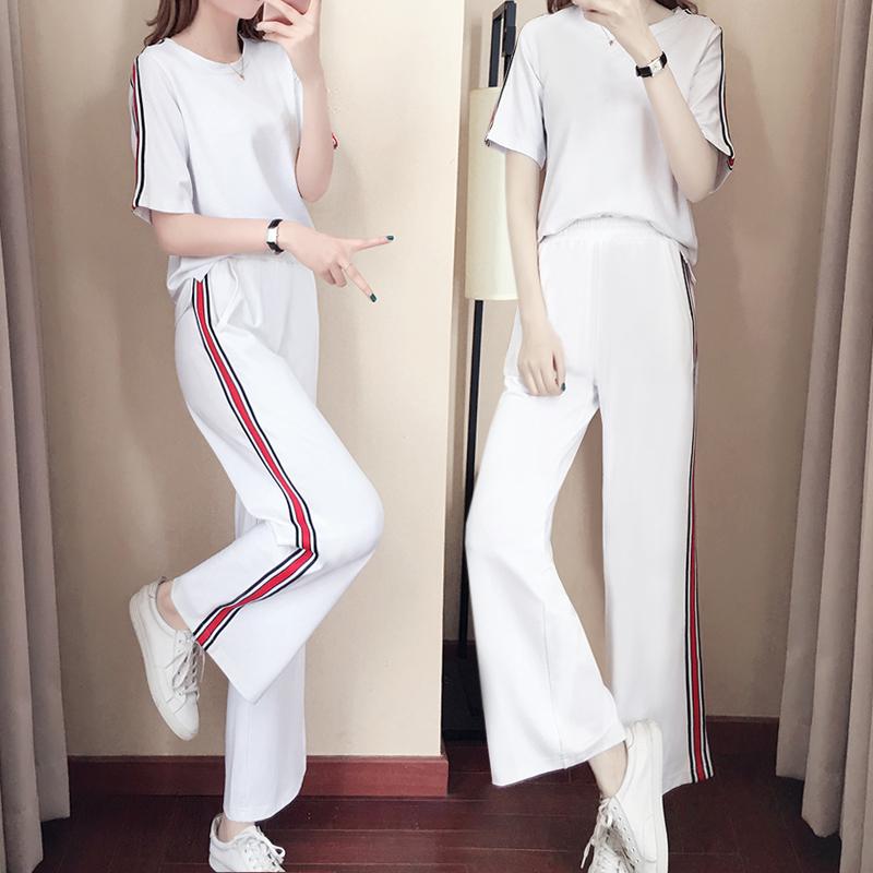 休闲运动套装女2018夏季新款宽松显瘦阔腿裤春秋运动服套装两件套