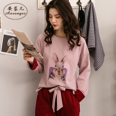 2018新款睡衣女秋韩版套装长袖可爱睡衣女生纯棉宽松两件套外穿