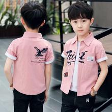 男童短袖衬衫夏季2019新款韩版透气儿童纯棉寸衣3-7-11岁宝宝上衣
