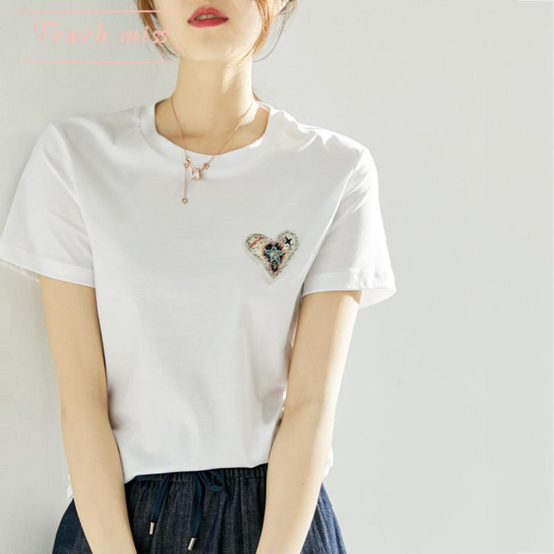 TOUCH MISS日系气质纯棉上衣19夏季新款圆领短袖钉珠爱心贴布T恤