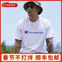 Chao Tide Champion Short Sleeve T-shirt Men Cham Double Mark Big C Chao Couple Ins Over-Fired String Label Topcoat Summer