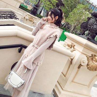 2018秋冬季新款女韩版chic马甲套装裙两件套厚冬裙气质打底连衣裙