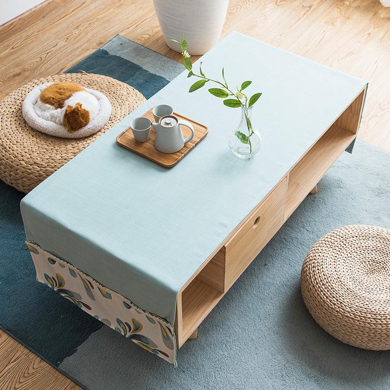 美式茶几桌布布艺简约现代北欧风长条纯色素色书桌棉麻长方形桌垫