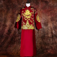 Show Wo clothing men's Chinese wedding dress men's same groom suit Ma Rong robes national Tang suit dragon and phoenix winter