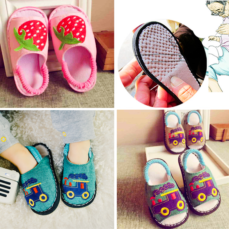 手工纳底夏春秋儿童家居幼儿室内家用防滑男童女亚麻宝宝麻布拖鞋