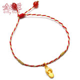 Aili jin gold slippers off the evil anklet 999 pure gold pendant pendant red rope bracelet