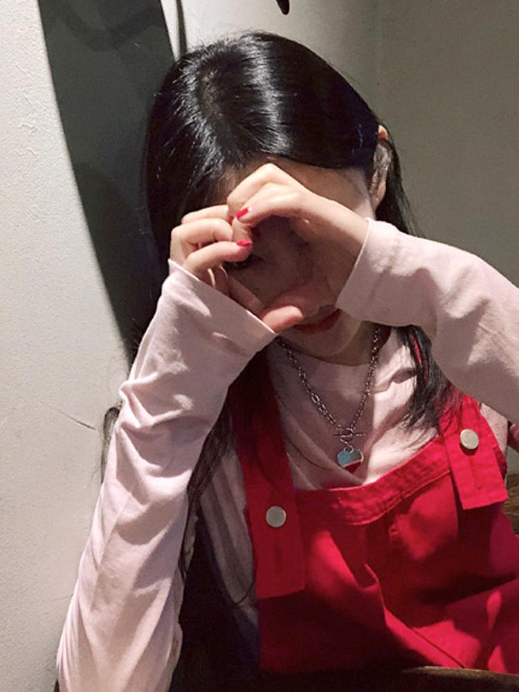 鬼鬼家 韩国代购东大门新款 少女粉圆领长袖打底衫长袖T恤女春夏