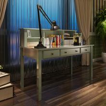 美式实木书桌全实木地中海风格欧式电脑桌简约家用学生学习写字台