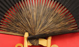 Brown bamboo fan traditional full brown black paper folding fan 7,8,9,10,12 inch drama fan with Wang Xingji