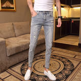 Summer men's trousers Korean version of the hole light color jeans men's men's wild stretch feet pants Slim youth nine pants