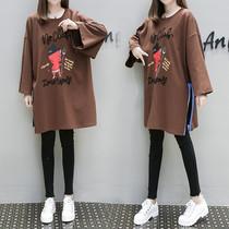 欧洲站胖妹妹艾尚春哥女大码女装大码卫衣女宽松中长款加肥加大