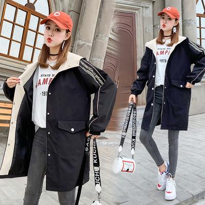 初中高中学生2019春装新款韩版宽松风衣外套少女中长款百搭棒球服